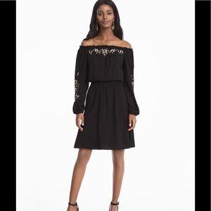 WHBM Black Blouson Embroidered Dress